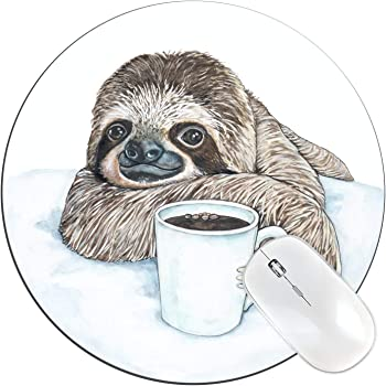 SSOIU Cute Baby Sloth Inspirational Quotes Round Mouse Pad Follow Your Dreams Quote Sloth On The Tree Circular Mouse Pads