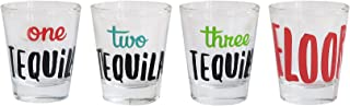 Cheers Shot Glass Set, 4 Piece Drinking Game Funny Tequila Themed Glasses