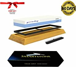 "Smartstone Knife Sharpening Stone Kit From Jazziezhop ""Bonus"" Free Gift Cut Resistant Pair of Gloves Large Size ""Every Home Kitchen & Family Should have a Smartstone"" Whetstone Knife Sharpener Non Slip Bamboo Base 2 sided grit 1000 to 6000 Best Knife Sharpener CHEFS No1 Choice Clever Angle Guide Included Hunting Fishing Farmer Meat worker Slicing Dicing"