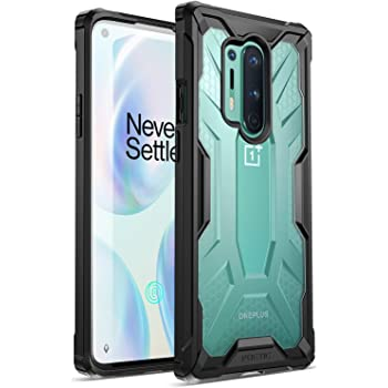 Poetic Affinity Series Designed for OnePlus 8 Pro Case, Rugged Lightweight Military Grade Hybrid Protective Bumper Cover, Black/Clear