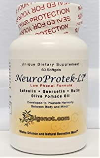 NeuroProtek Low Phenol - 12 Bottle Pack, Exclusive Patented Combination of Luteolin, Quercetin & Rutin in Olive Pomace Oil...
