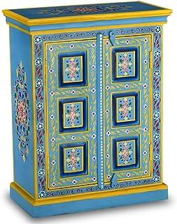 xinglieu aparador en madera maciza de mango pintura manual turquesa 60x 30x 78cm (L x P x H) con un Riche détail decora...