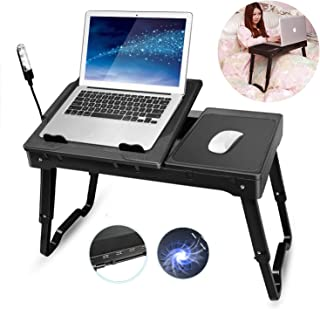 Laptop Bed Table Tray, TeqHome Adjustable Laptop Bed Stand, Portable Laptop Desk with Foldable Legs, Lap Tablet Laptop Table for Bed Sofa Couch Desk-Internal Cooling Fan-LED Desk Lamp-4 Port USB
