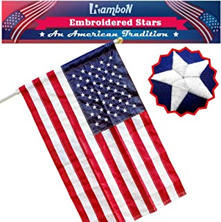 RamboN - 2.5x4 ft American Flag (Pole Sleeve) Embroidered Stars, Sewn Stripes, US USA Outdoor Flags, Nylon, UV Fading Resistant - Premium Quality