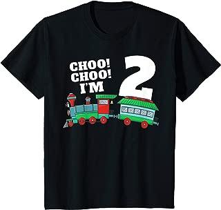 Kids I'm Two Train 2nd Birthday T Shirt Boy Toddler 2 Train Gift