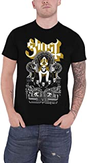 Ghost T Shirt Wegner Gold Band Logo Design Official Mens Black