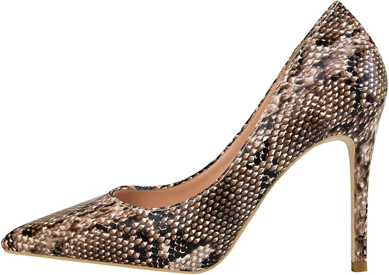 Snake Print Pumps Sexy Slides Slip On Sandals Shallow Pointed Toe shoes Stiletto Sandalias
