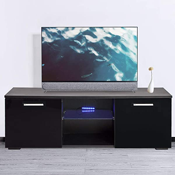 Joolihome 47 Inch TV Stand Cabinet Black High Gloss TV Console Cabinet Shelves Entertainment With 2 Drawers LED Lights 47 Inch TV Screen White Black Wood Glass Living Room Bedroom Furniture Set