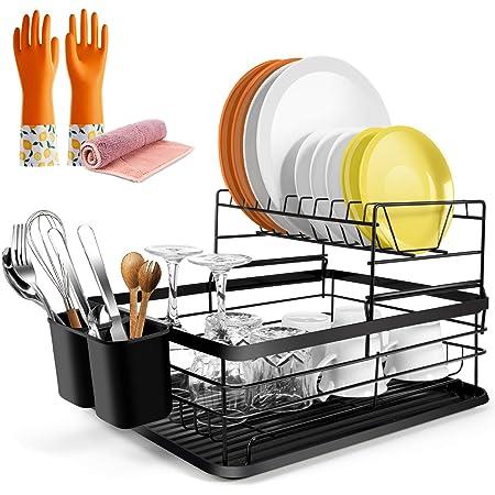 Geschirrabtropfgestell mit 2 Reifen, Eisen, Geschirrabtropfgestell mit Utensilien, Besteckhalter, Abtropfgestell in der Spüle, Hergeben Reinigungstücher von Masthome