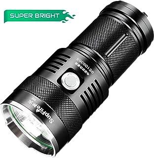 Supfire Linterna LED Tactica Impermeable Faroles de Mano Super Brillante 2300 Lumenes CREE LED*3 Antorcha con 4 Baterías de 18650 y Cargador Incluido,5 Modos para Camping Senderismo Pescar,Modelo M6