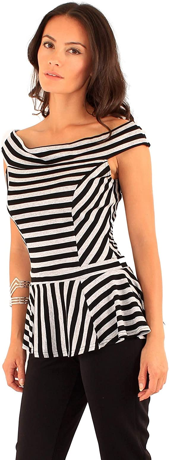 SHIRT396 Lili London Womens//Ladies Spirit Striped Bardot Peplum Top