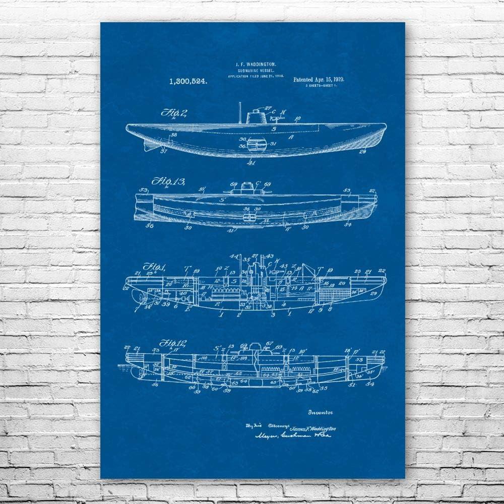 爆買い送料無料 Patent ランキングTOP5 Earth Submarine Boat Poster Gift B Navy Print