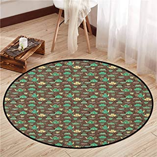 Bedroom Rugs,Tea Party,Cups and Pots with Different Floral Motifs on Dotted Brown Background,Sofa Coffee Table Mat,4'11