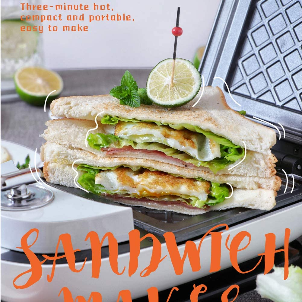 Machine à Sandwich Toasteur Croque Monsieur, Gaufrier Sandwich Plaques Détachables Plaques Antiadhésives contrôle de température Automatique. White