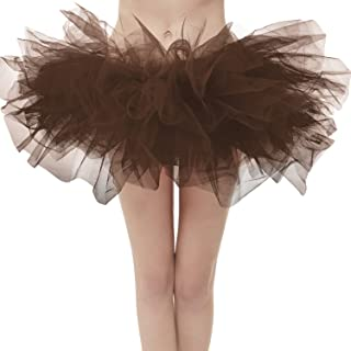 e1886a8b43 Dresstore Women's Vintage 5 Layered Tulle Tutu Puffy Ballet Bubble Skirt