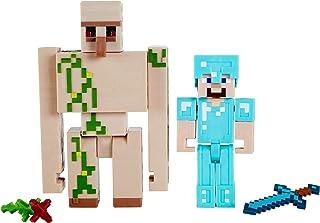 Minecraft Créer-Un-Bloc figurines Steve et Golem de Fer, blocs de carton et accessoires, jouet d'action pour enfant inspir...