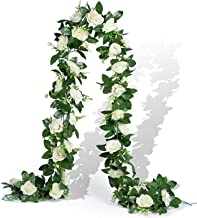 EPLST 2 Pack / 15.7 FT Artificial Flowers Lifelike Silk Decorative Faked Flower Rose Vine Rattan Cane Garland Wall Hang Pl...