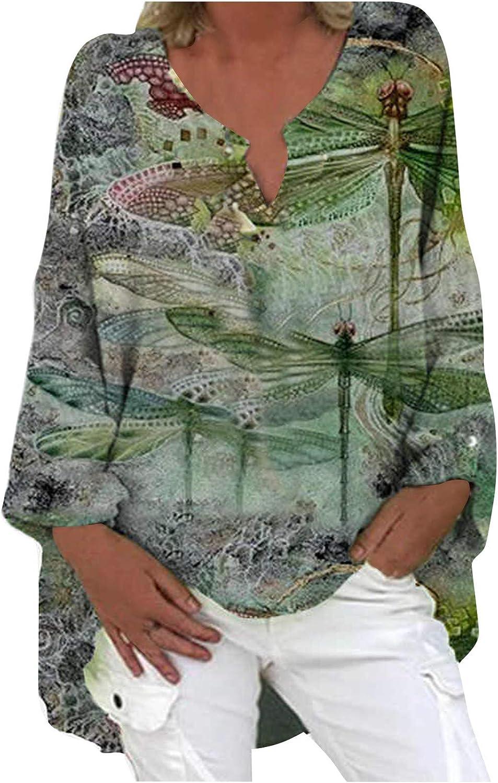 Jaqqra Womens Long Sleeve Tops, Womens Cotton Linen Shirt High Low Long Sleeve Floral Print Loose Blouse Tops Shirts