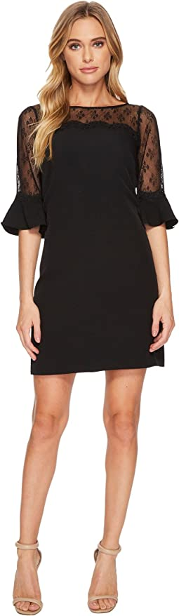 Adrianna Papell - Stretch Crepe and Lace Shift Dress