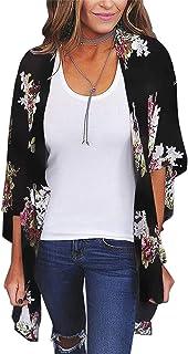 87f30b26c5957 Women's 3/4 Sleeve Floral Kimono Cardigan, Sheer Loose Shawl Capes, Chiffon  Beach
