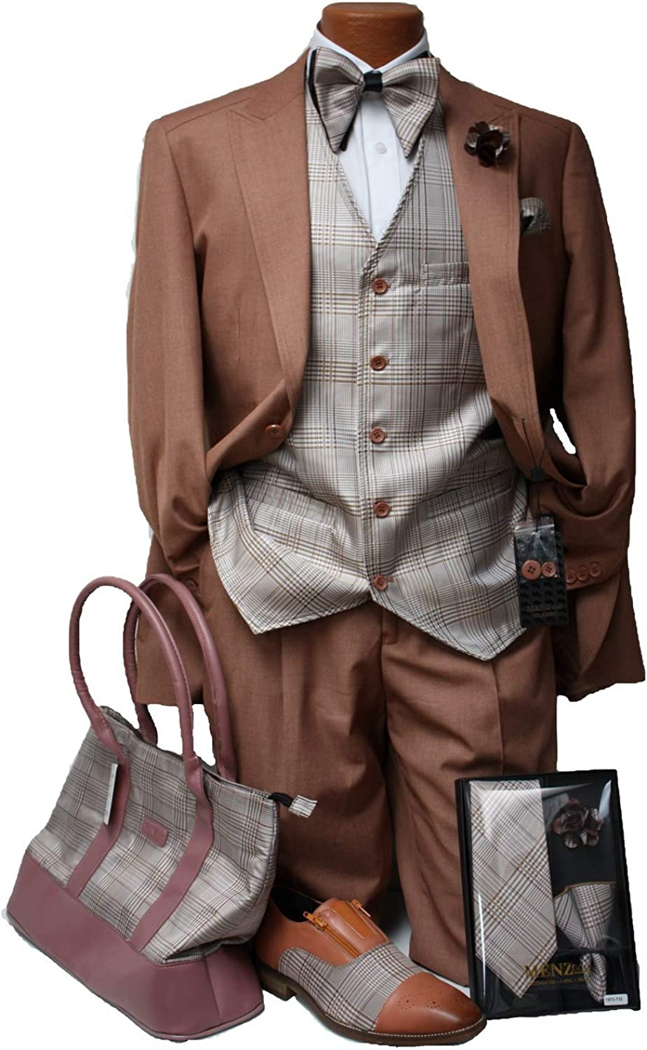 Men 3 pc Suit with Plaid Vest and Free Matching Tie or Bow Tie with Lapel Pin (54L, Brick Cognac)