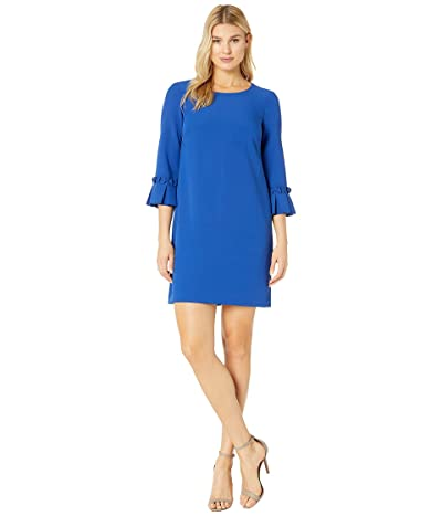 Tahari by ASL Stretch Crepe 3/4 Sleeve Sheath with Pleat Sleeve Detail (Royal) Women