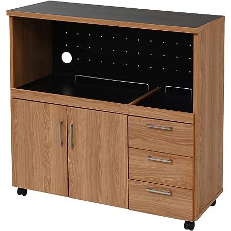 JKプラン キッチンカウンター キッチンボード 90 幅 コンセント付き レンジ台 キッチン収納 食器棚 FAP-0030-NABK