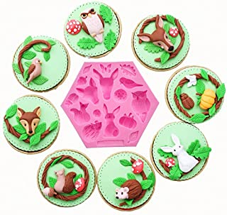 MoldFun Forest Animals Silicone Mold for Fondant, Gum Paste, Cake/Cupcake Topper Decorating, Chocolate, Candy, Polymer Clay (Owl Squirrel Giraffe Fox Bird Hedgehog Included)