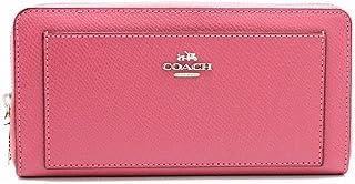 [コーチ] COACH クロスグレイン レザー ジップアラウンド ラウンドファスナー 長財布 レザー ピンク シルバー金具 F52648