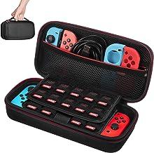 Funda para Nintendo Switch – Younik Versión mejorada Viaje rígida Case con más Espacio de almacenamiento para 19 Juegos, oficial adaptador de AC y otros accesorios Nintendo Switch
