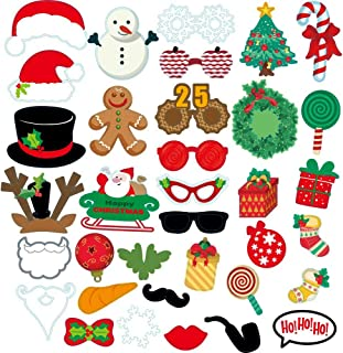 Christmas Photo Booth Props Kit with Stick 35 Pcs, New Years Theme Party Funny Xmas DIY Photobooth Supplies Moustache Red Lips Santa Hat Snowman, Holiday Kids & Adults Accessories Set Photograph