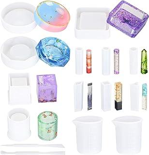 Avamie 15 Pack Resin Silicone Mold, Ashtray, Large Around, Large Square, Cylinder, Pendant, Silicone Molds for DIY/Ashtra...