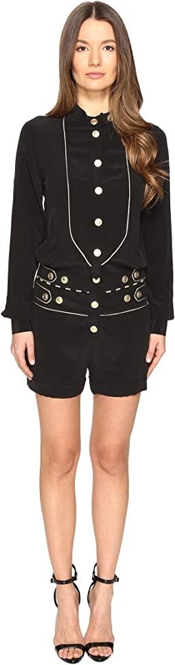 Embellished Button Playsuit