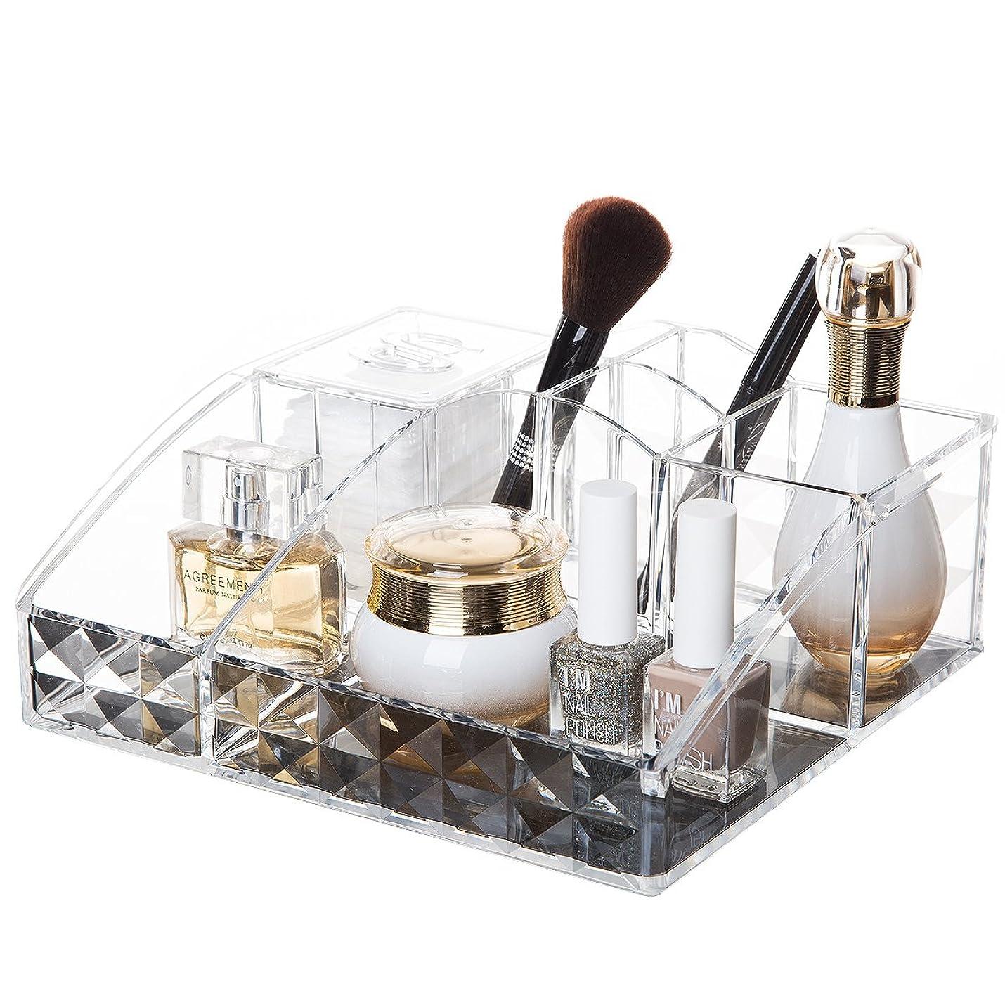 晴れギャロップ愛するコスメ収納ボックス アクリルケース 収納ケース 卓上収納 仕切り付き アクリル製 化粧道具 雑貨収納 洗面台 鏡台 (Y-1034)
