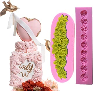 Anyana long rose garland bead line flower vine silicone border mould cake Fondant gum paste mold for Sugar paste wedding p...