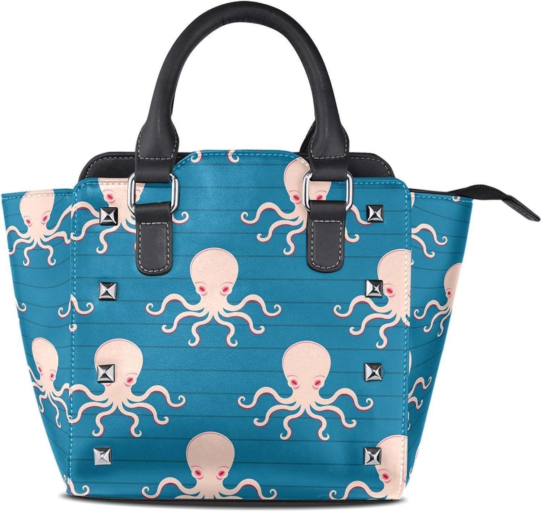 Sunlome Octopus bluee Print Women's Leather Tote Shoulder Bags Handbags