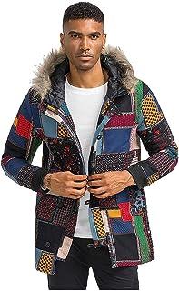 FNKDOR Uomo Inverno Cotone e Lino Hooded Cappotto Parka Retro Africa Stile Nazionale Stampa Cerniera Giacca