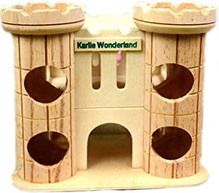 Dwarf Hamster House Wooden Tunnel Hut Mice Toys Wood Castle, Small Animal Playground Toy for Syrian Hamster Guinea Pig Chi...
