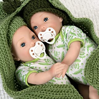 Paradise Galleries Reborn Twin Dolls - Two Peas in a Pod, Magnetic Mouth 16 inch in SoftTouch Vinyl, 9-Piece Doll Gift Set, Age 3+