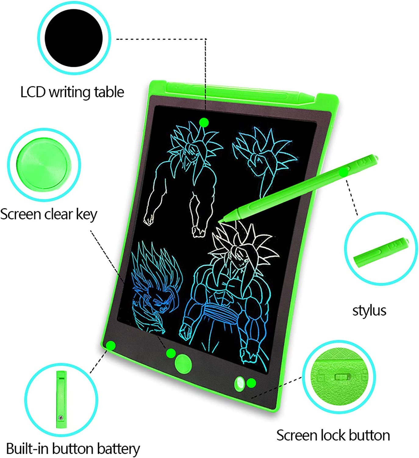 Arolun LCD Writing Tablet, 8.5 Inch Colorful Screen Digital eWriter Electronic Graphics Tablet Portable Writing Board Handwriting Doodle Drawing Pad for Kids Adult Home School Office (Green)