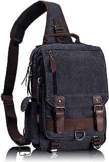Canvas Messenger Bag Sling Bag Cross Body Bag Shoulder Bag Black
