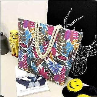 canvas bag Handbag High Quality Women Girl Canvas Big Striped Summer Shoulder Tote Beach Bag Colored Stripes (Color : 75)