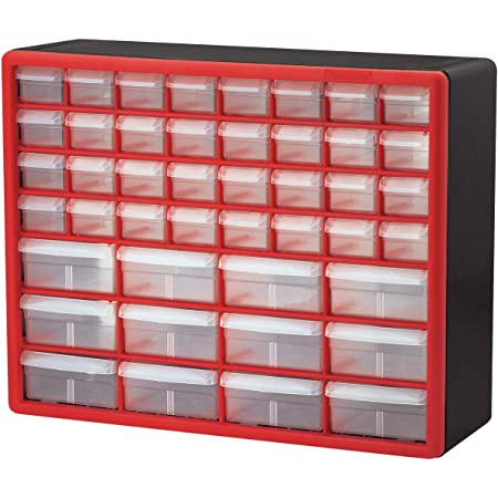 Akro-Mils 44 Drawer 10144REDBLK, Plastic Parts Storage Hardware and Craft Cabinet, (20-Inch W x 6-Inch D x 16-Inch H), Red & Black, (1-Pack)