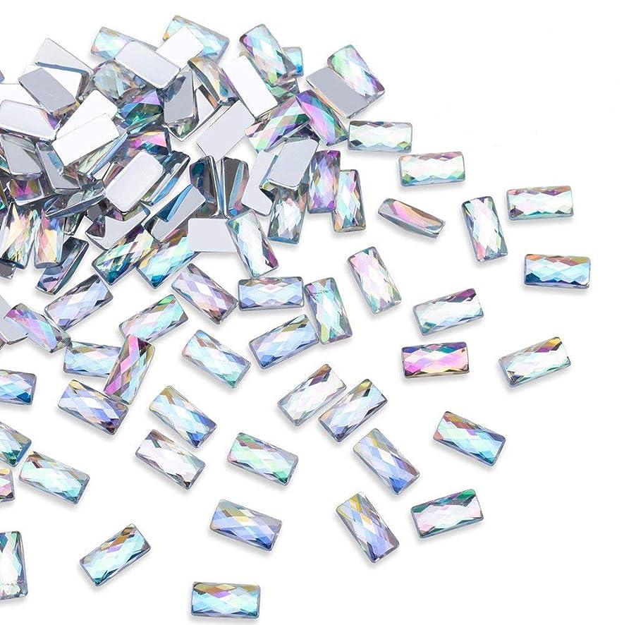 1000Pcs AB Crystal Rhinestones, Rectangle Flatbacks Rhinestones Clear Rhinestones Embellishments for DIY Crafts, Nail Art, Clothes, Bag, Shoes, Jewelry Wedding Decorations (10mm)