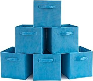 comprar comparacion EZOWare Caja de Almacenaje con 6 pcs, Set de 6 Cajas de Juguetes, Caja de Tela para Almacenaje, Azul Niagara
