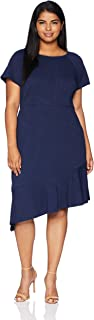 London Times Women's Plus Size Short Sleeve Boat Neck Asymetrical Sheath Dress