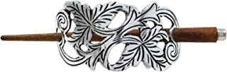 Banithani Charm Barrette Fashion Silvertone Pin Hand Carved Metallic Hairs Accessory