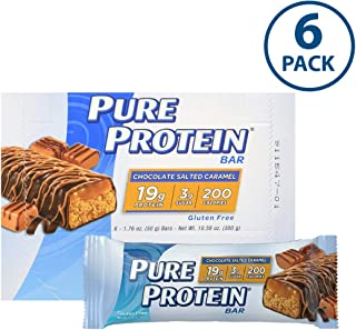 Pure Protein Bars, High Protein, Nutritious Snacks to Support Energy, Low Sugar, Gluten Free, Chocolate Salted Caramel, 1.76oz, 6 Pack