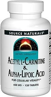 Source Naturals Acetyl L-Carnitine & Alpha-Lipoic Acid 650mg- 120 Tablets