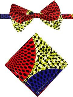 Unisex Ankara African Print Kente Bow Tie And Pocket Square Set